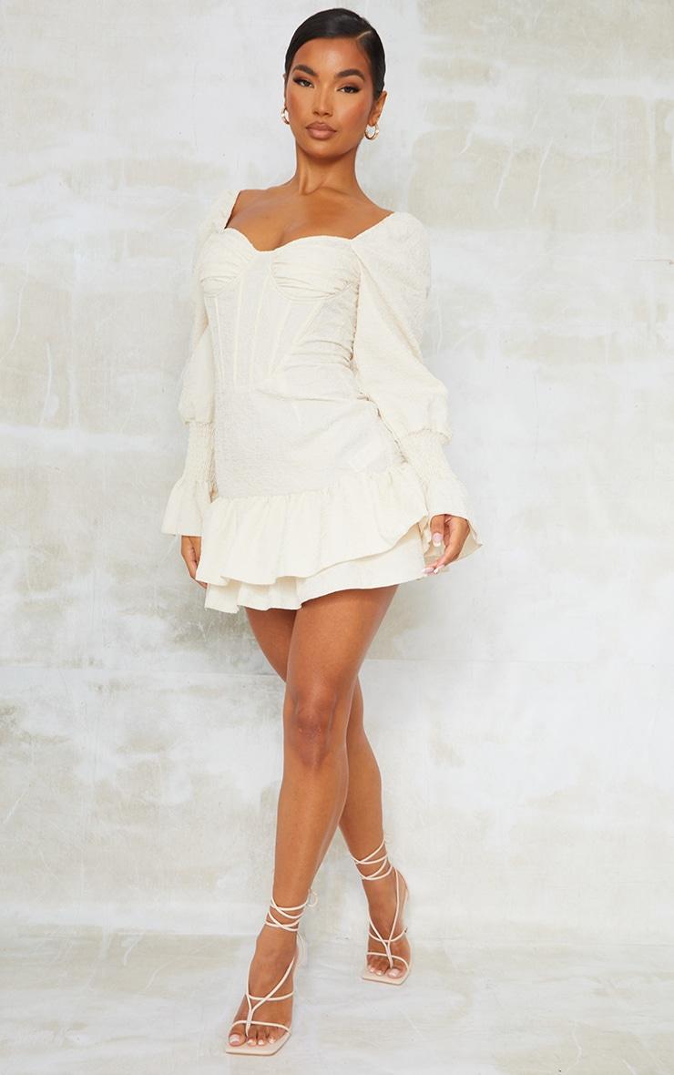 Robe moulante crêpée champagne à manches froncées et taille corset 3