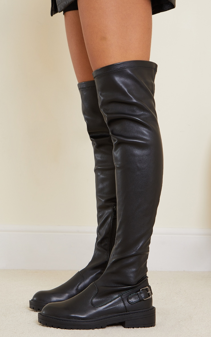 Black PU Buckle Detail Chunky Over The Knee Boots 3