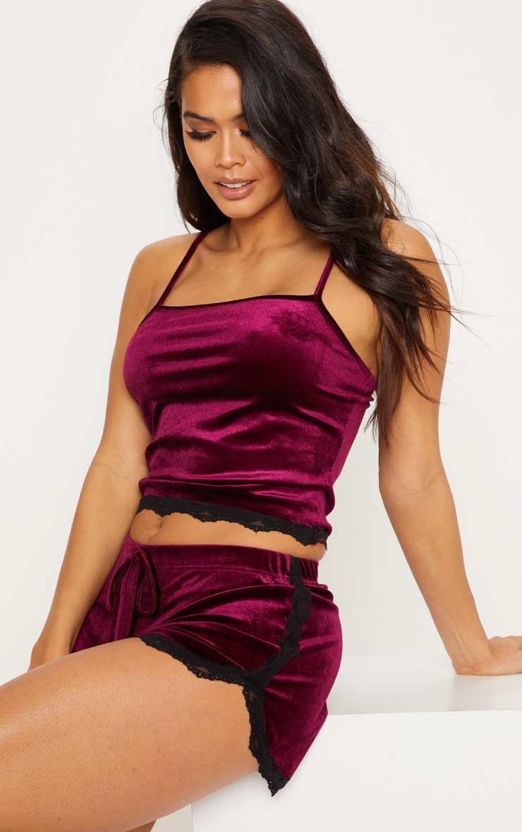 Plum Velvet Lace Trim PJ Short 4