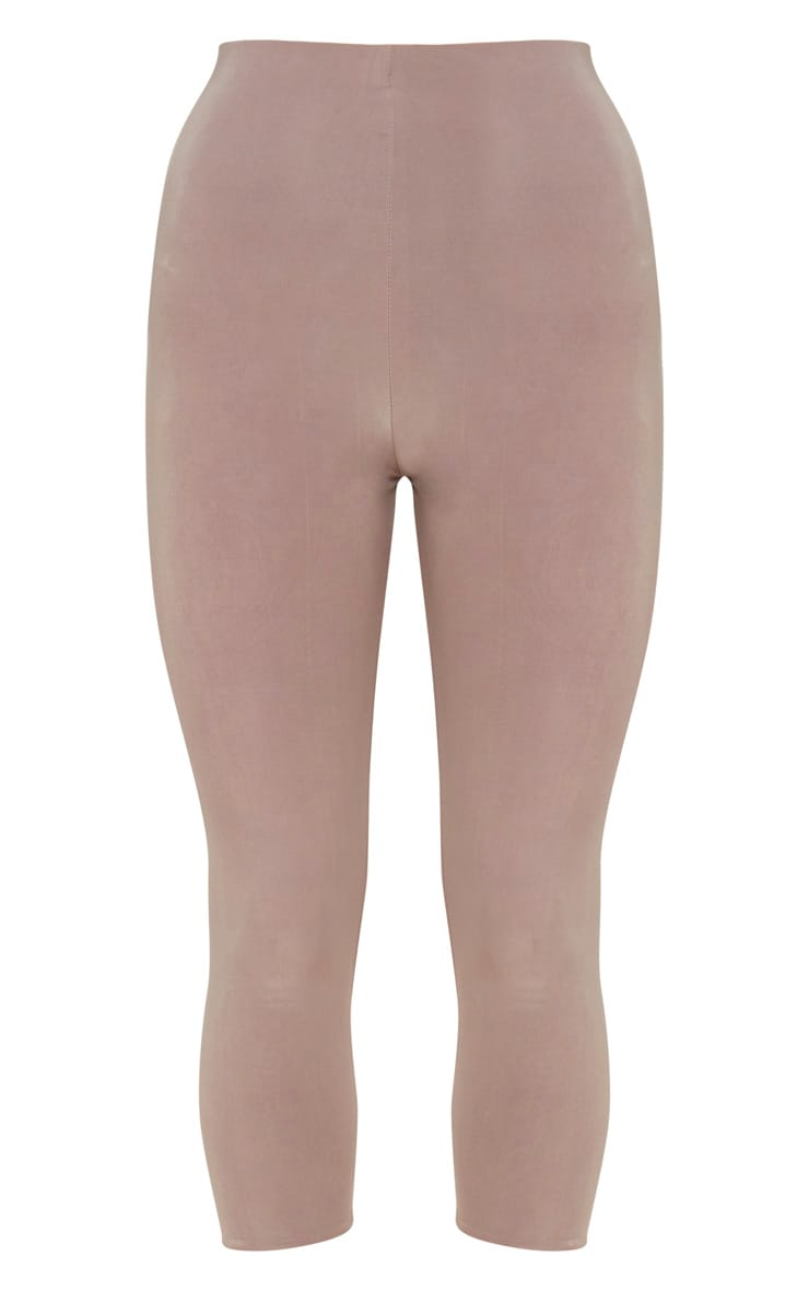Taupe Slinky Cropped Leggings 3