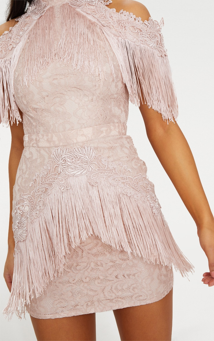 Dusty Pink Cold Shoulder Lace Tassel Trim Bodycon Dress 5