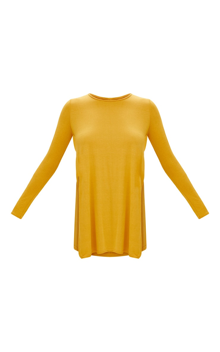 Basic top fendu sur le côté à manches longues moutarde 3
