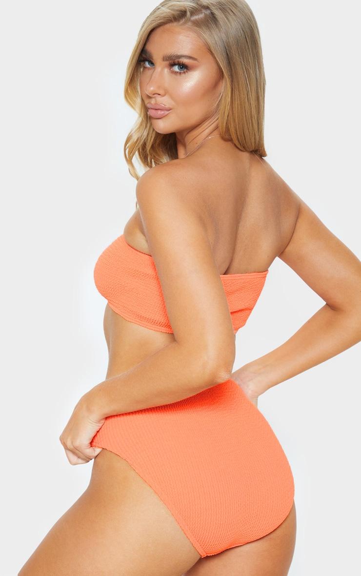 Coral Crinkle Bandeau Bikini Top 2