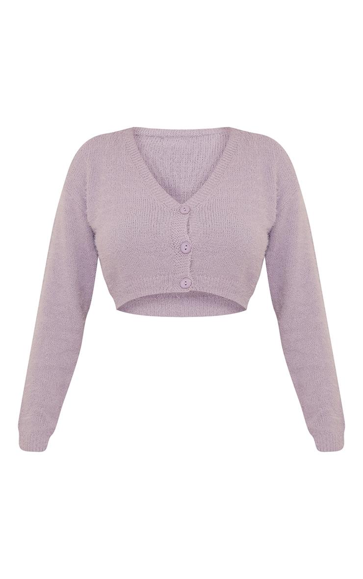 Lilac Eyelash Knit Cropped Cardigan 5
