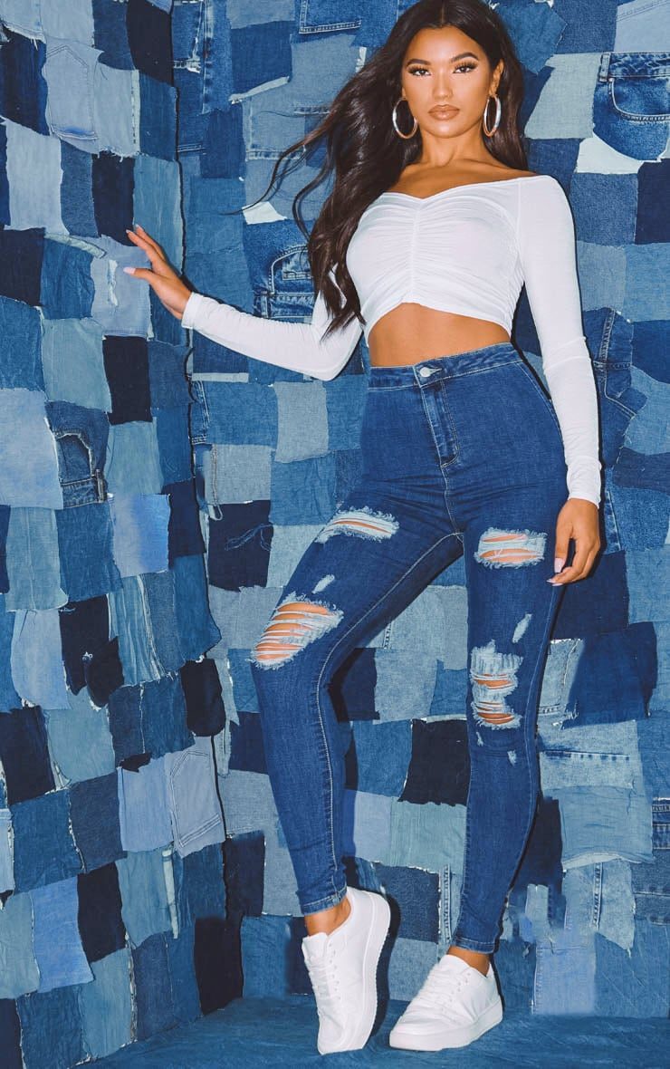 PRETTYLITTLETHING Mid Blue Distressed Disco Skinny Jean 1