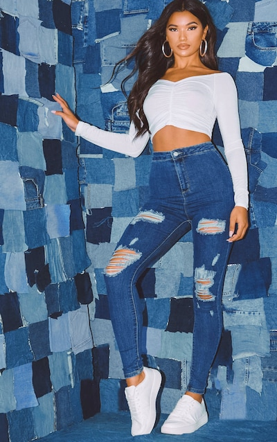 PRETTYLITTLETHING Mid Blue Distressed Disco Skinny Jean