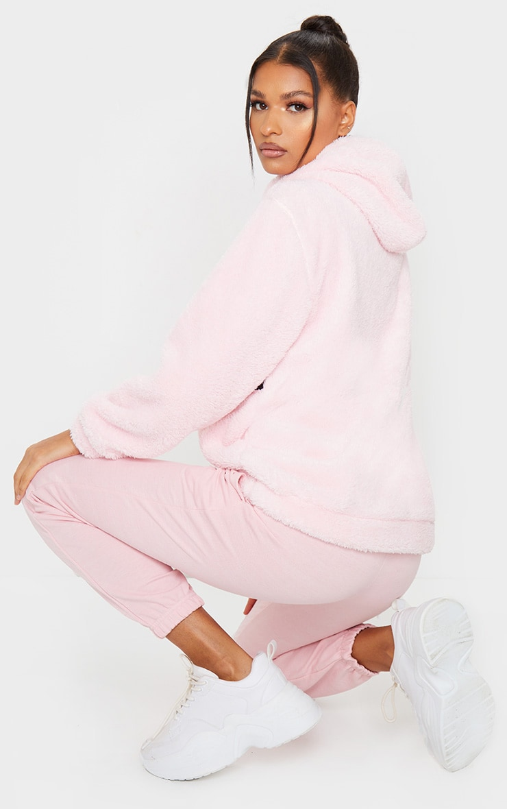 PRETTYLITTLETHING Baby Pink Borg Tape Oversized Zip Sweater 2