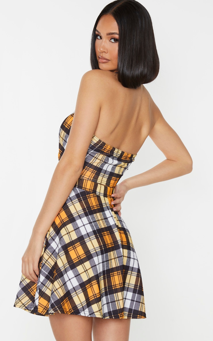 Yellow Check Print Halterneck Wrap Front Crop Top 2