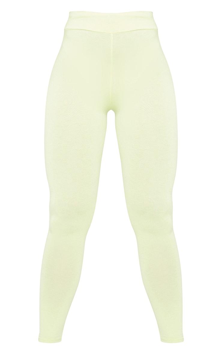 Pale Lime Basic High Waisted Jersey Leggings 5