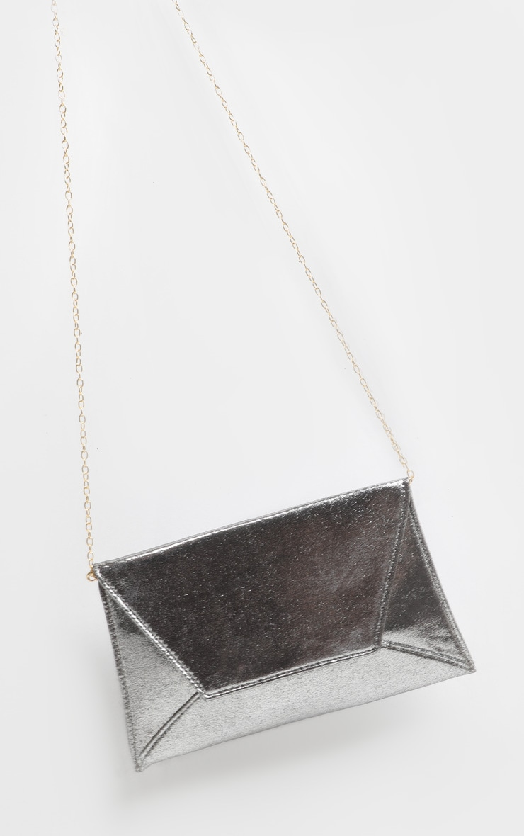 Pewter Shimmer Envelope Clutch Bag 3