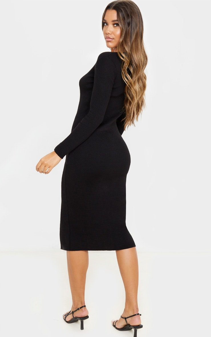 Black Button Front Knitted Midi Dress 2