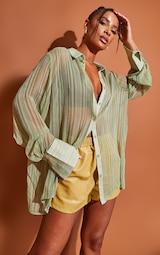 Green Textured Stripe Woven Oversized Shirt 1