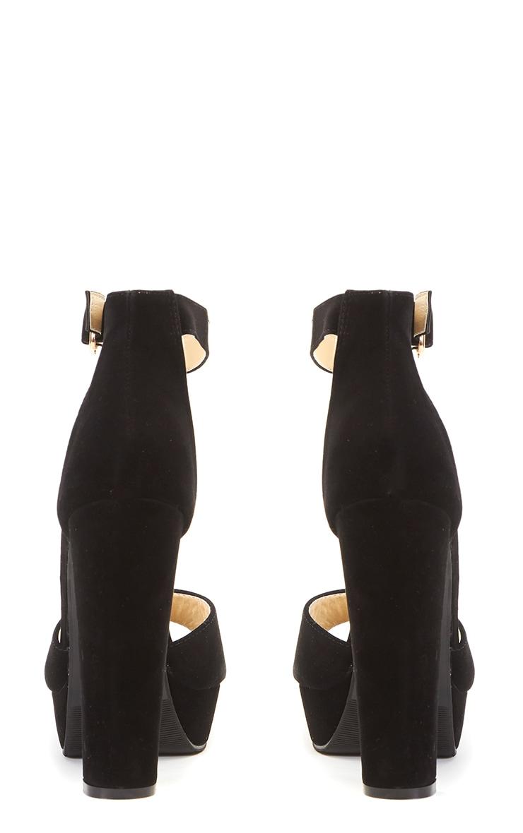 Gigi Black Suede Strappy Block Heeled Sandal  2