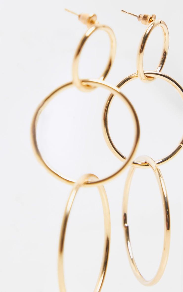 Gold Large Multi Circle Drop Earrings 3
