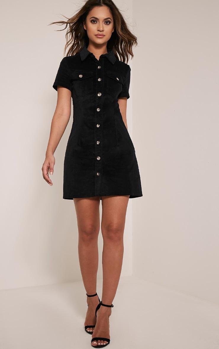 Adalia Black Sleeveless Cord Button Down Bodycon Dress 5