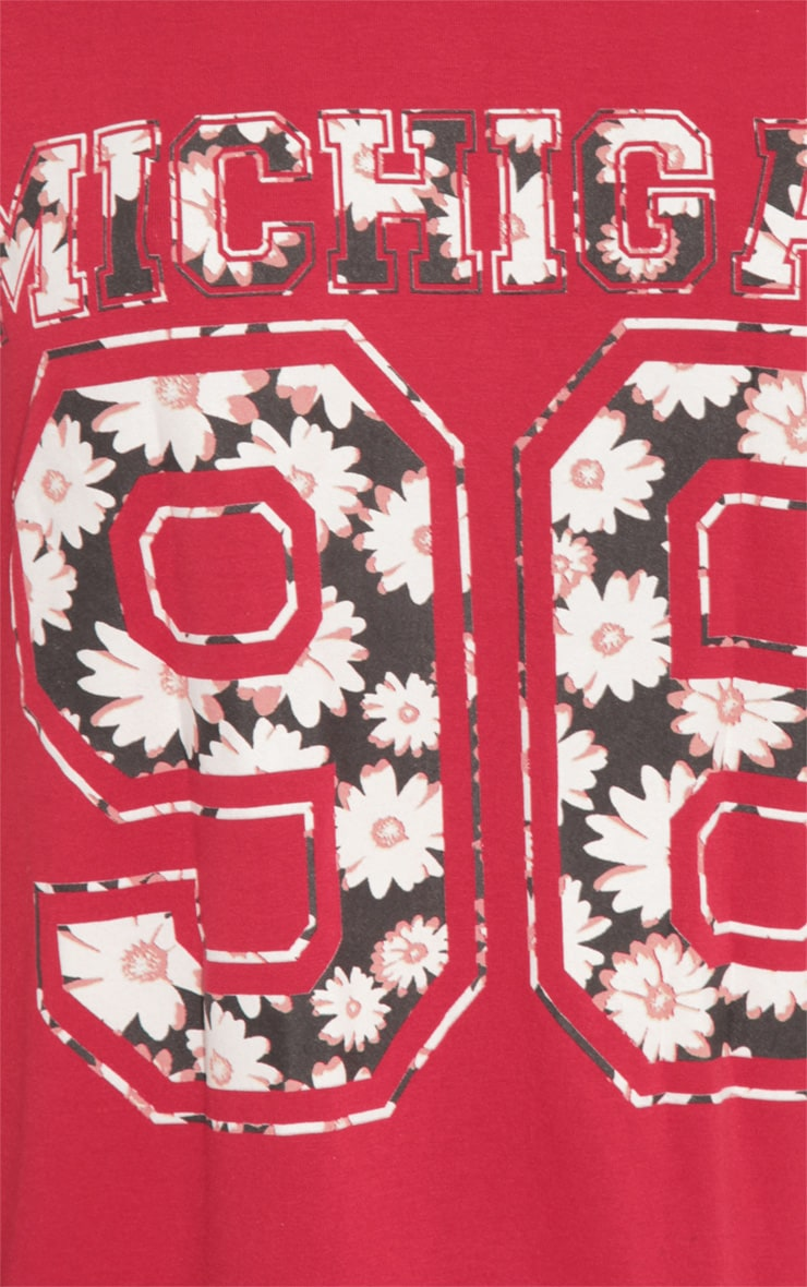 Ella Red Floral Print 'Michigan' Baseball Tee 5