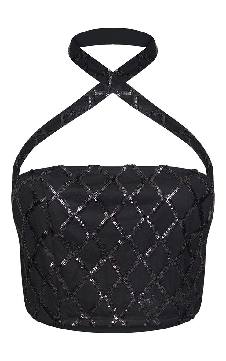 Black Sequin Cross Front Bandeau Halterneck Crop Top 3