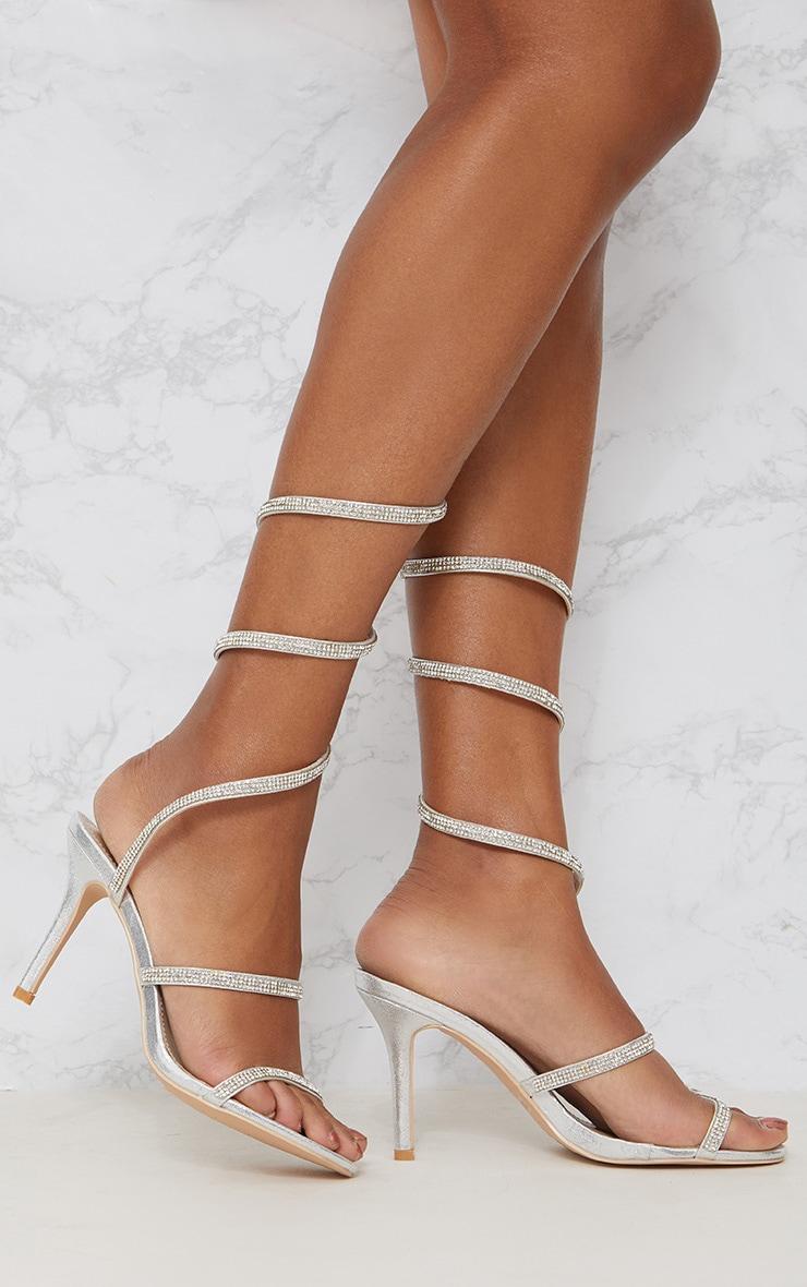Silver Diamante Wrap Strap High Heeled Sandal Pretty Little Thing DvZVUFP3a