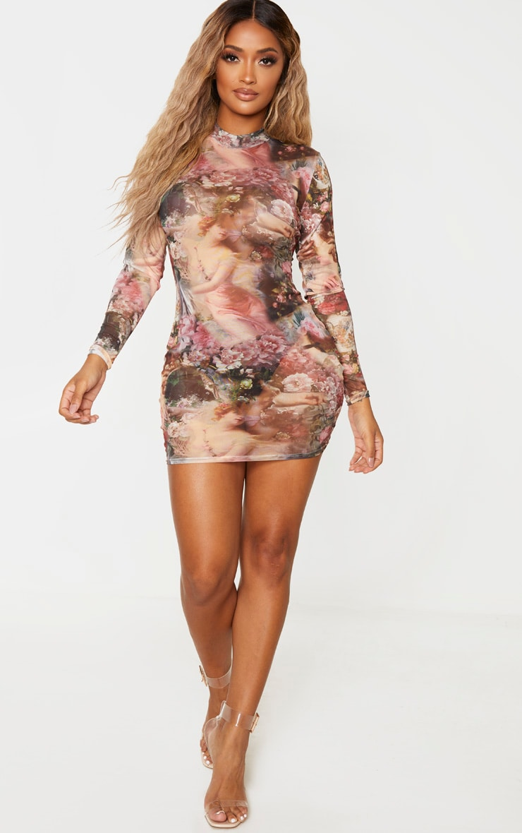 Shape Nude Sheer Renaissance Mesh High Neck Bodycon Dress 1