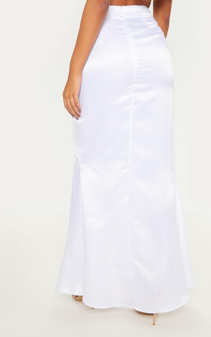 White Woven Split Front Maxi Skirt 4