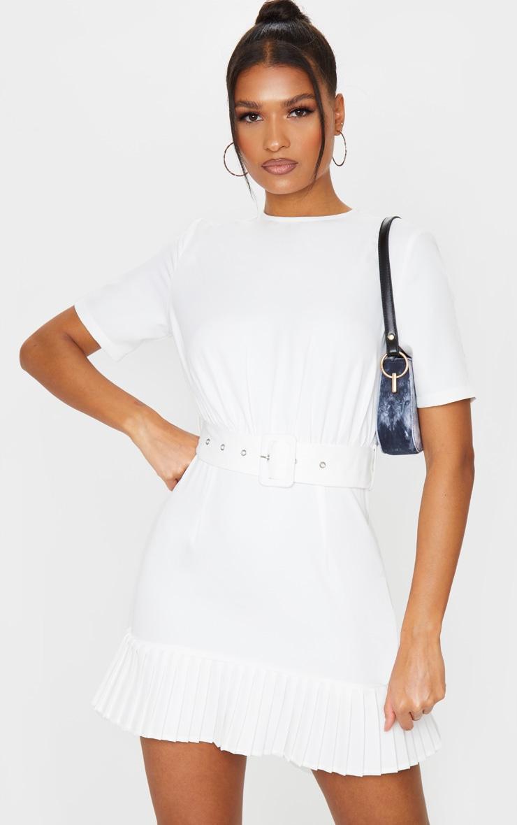 White Ruched Bust Belt Detail Pleated Hem Shift Dress 1