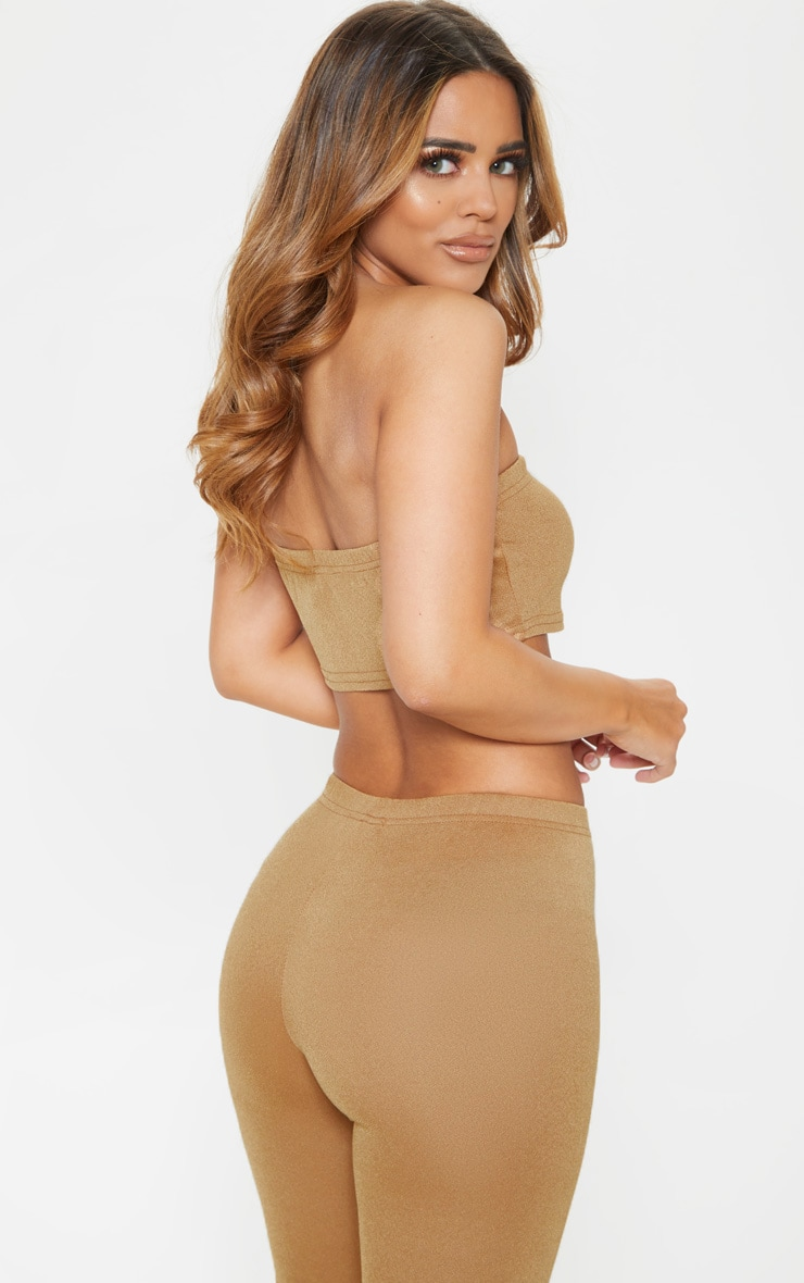 Petite Camel Stretch Crepe Bandeau Crop Top 2