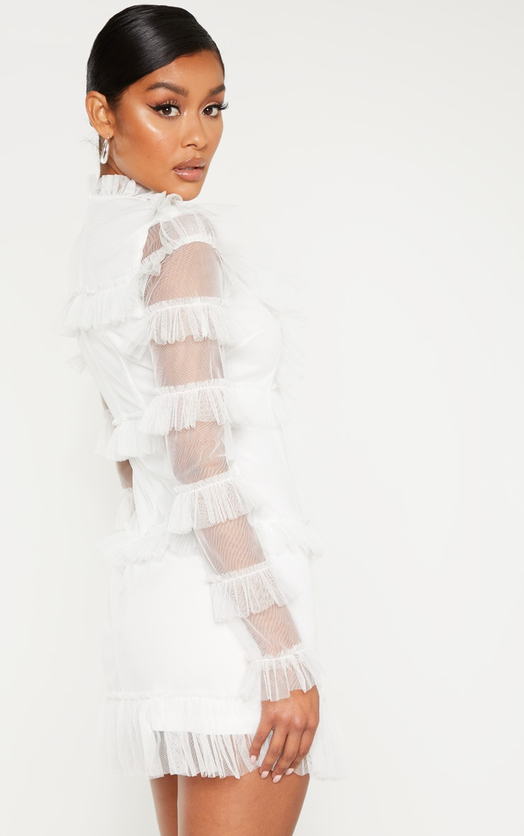 White Mesh Tulle Long Sleeve Bodycon Dress 2
