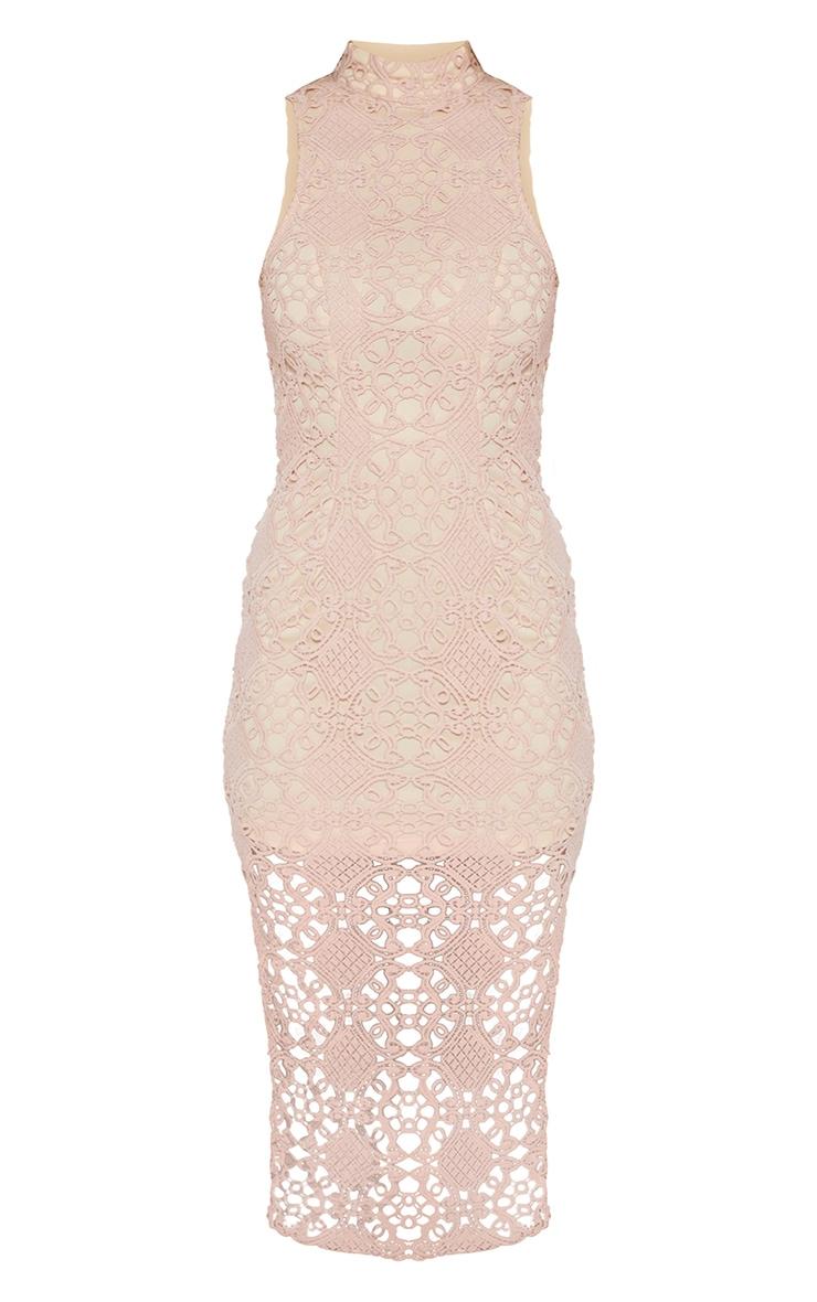 Dusty Pink High Neck Lace Midi Dress 3