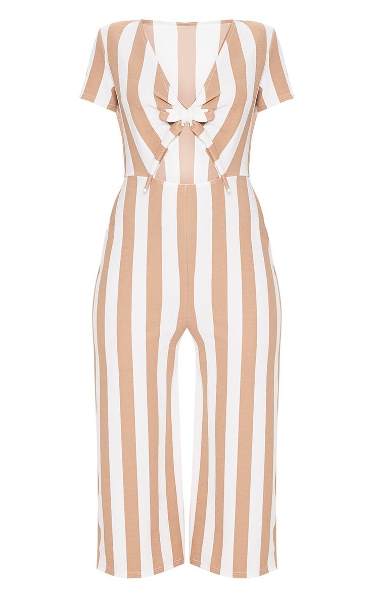 Stone Stripe Tie Front Culotte Jumpsuit 4
