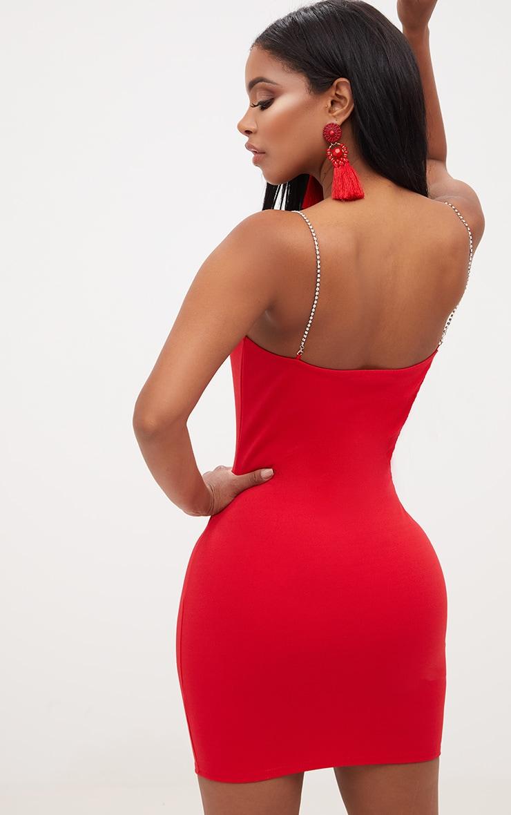 Shape Red Diamante Strap Bodycon Dress 2