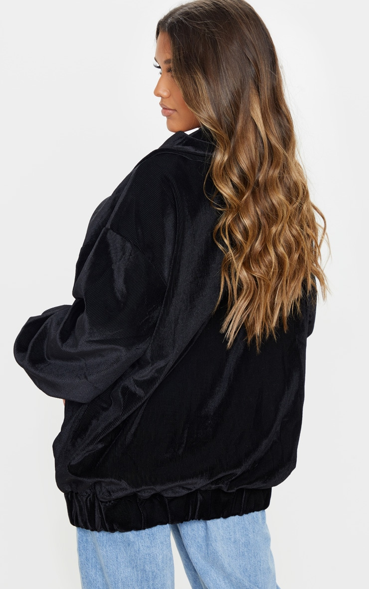 Black Cord Oversized Pocket Front Coat 2