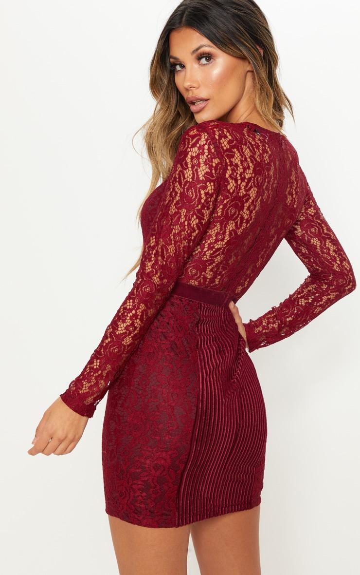 Burgundy Lace Velvet Insert Bodycon Dress 2