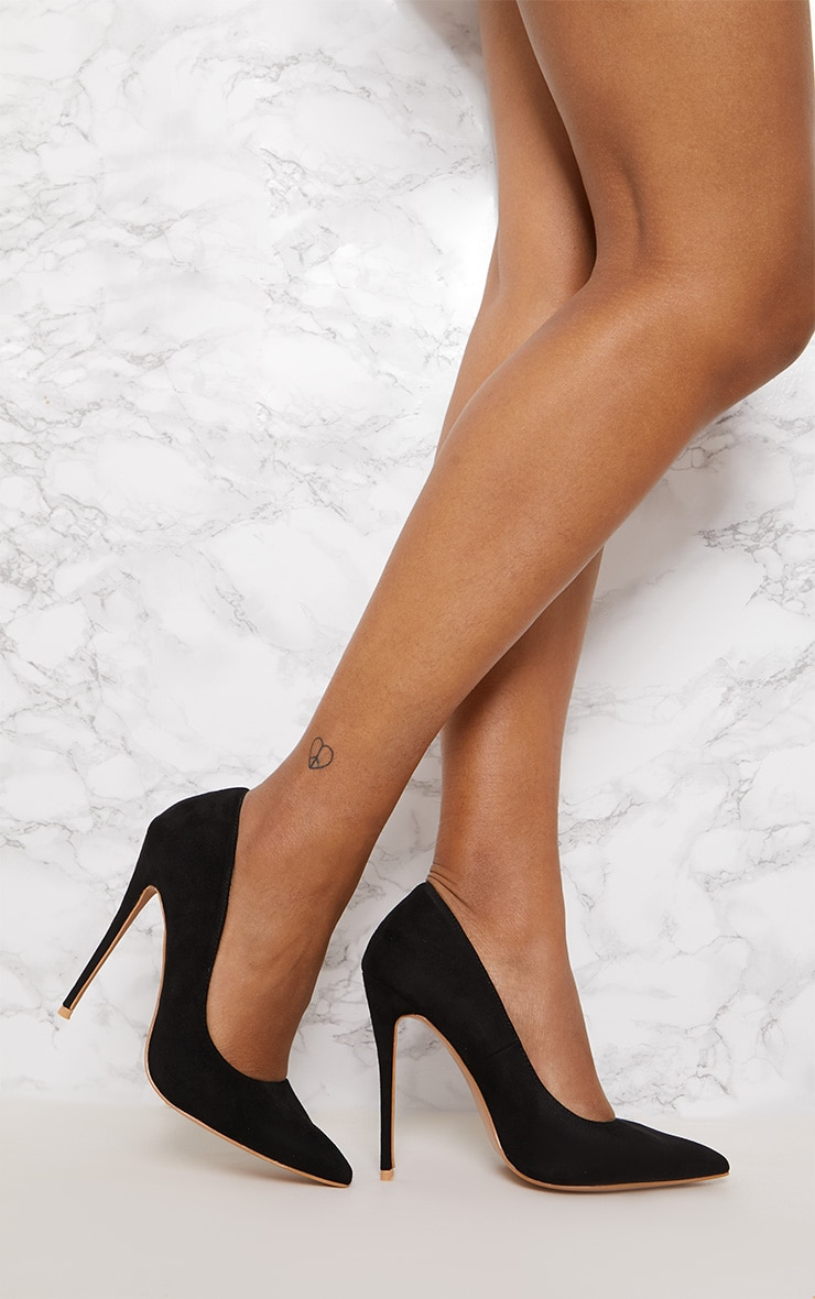 Black High Faux Suede Court 1