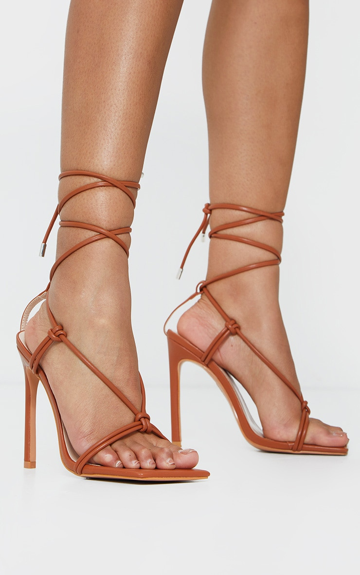 Brown Extreme Square Front Knot Detail High Heels 1