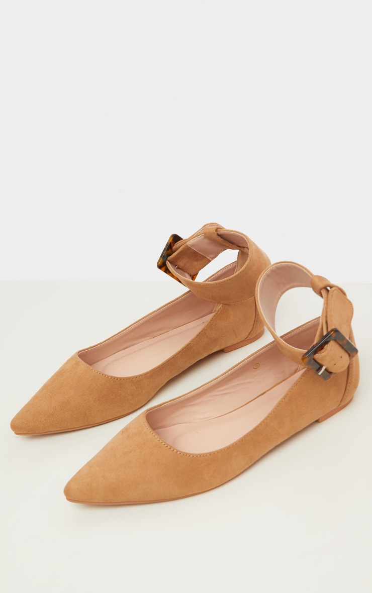 Tan Point Toe Ankle Cuff Ballet Shoes 5