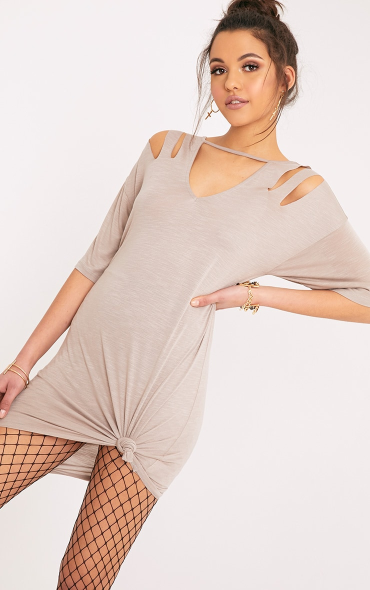 Laviina Taupe Jersey Slashed Cut Out Detail T shirt Dress 1