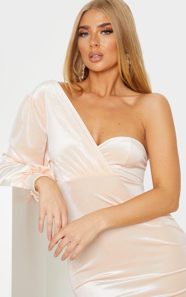Nude Velvet One Shoulder Dress 5
