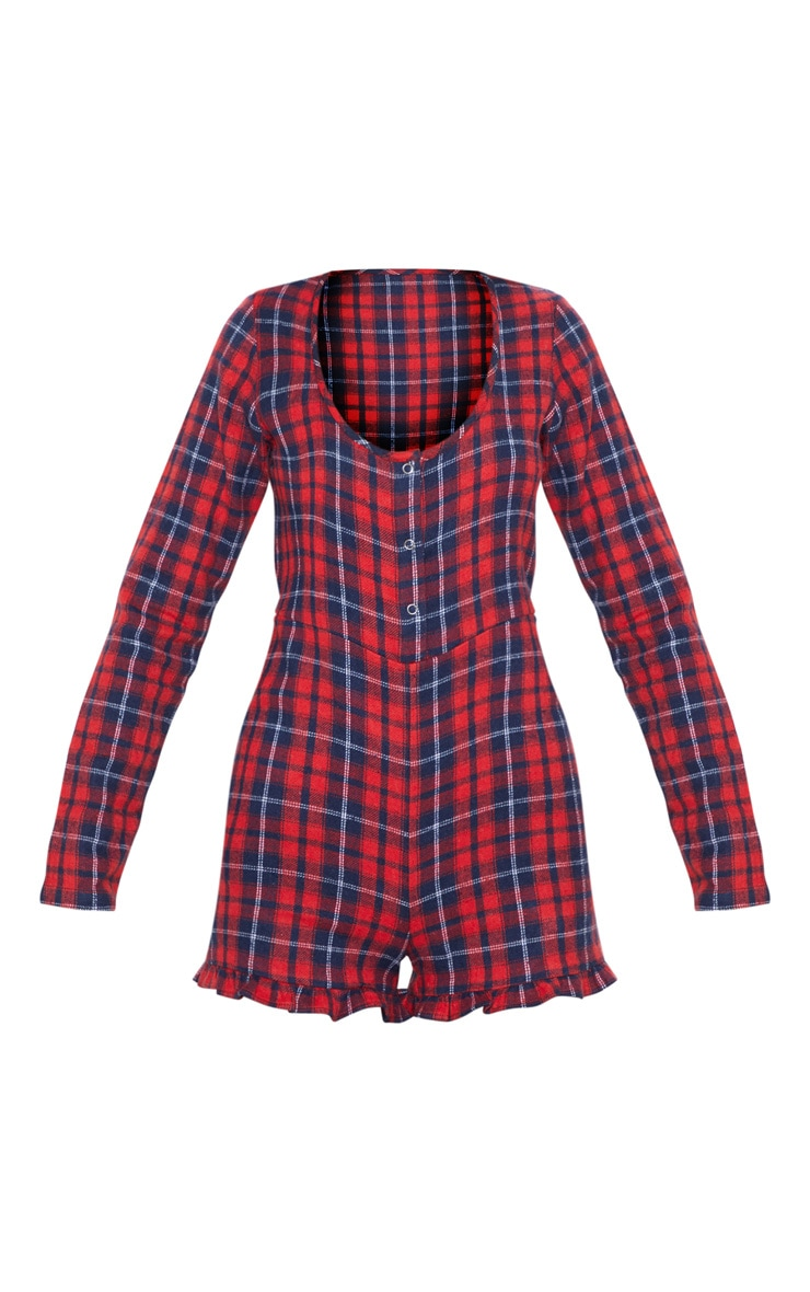 Red Check Flannel PJ Romper 3