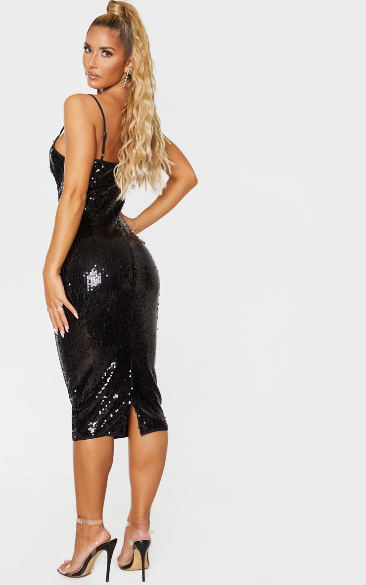 Black Sequin Binding Detail Strappy Midi Dress 2