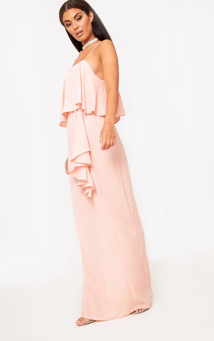 Blush Strappy Ruffle Front Maxi Dress 3