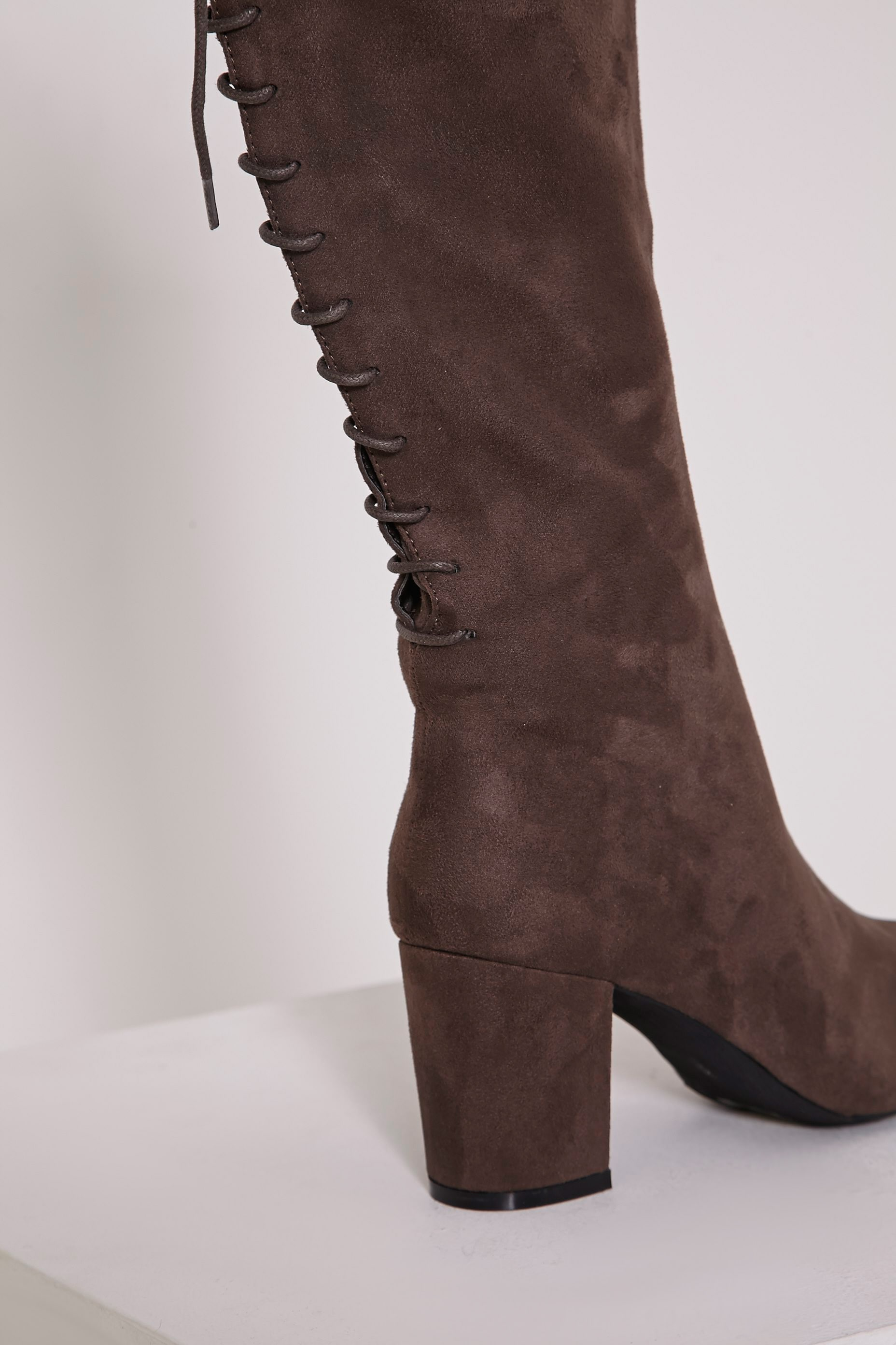 Sharan Taupe Faux Suede Laced Up Boots 6