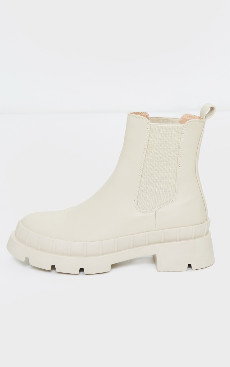 Cream Chunky Welly Style Chelsea Boots 4