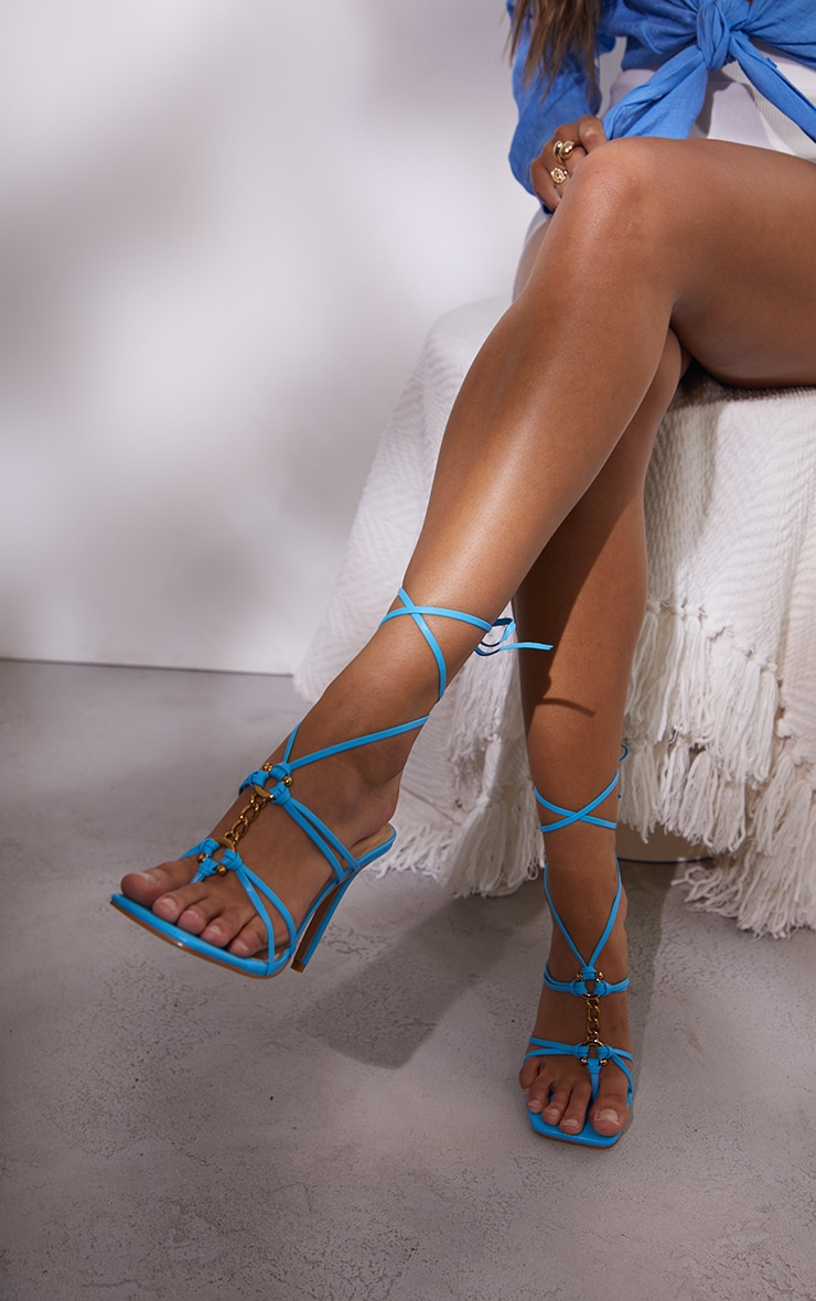 Blue Wide Fit PU Chain Detail Toe Thong Lace Up High Heeled Sandals 2