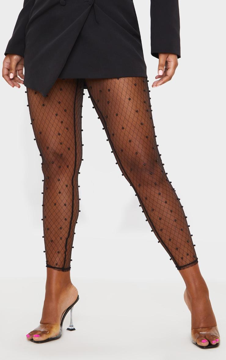 Black Beaded Skinny Mesh Pants 2