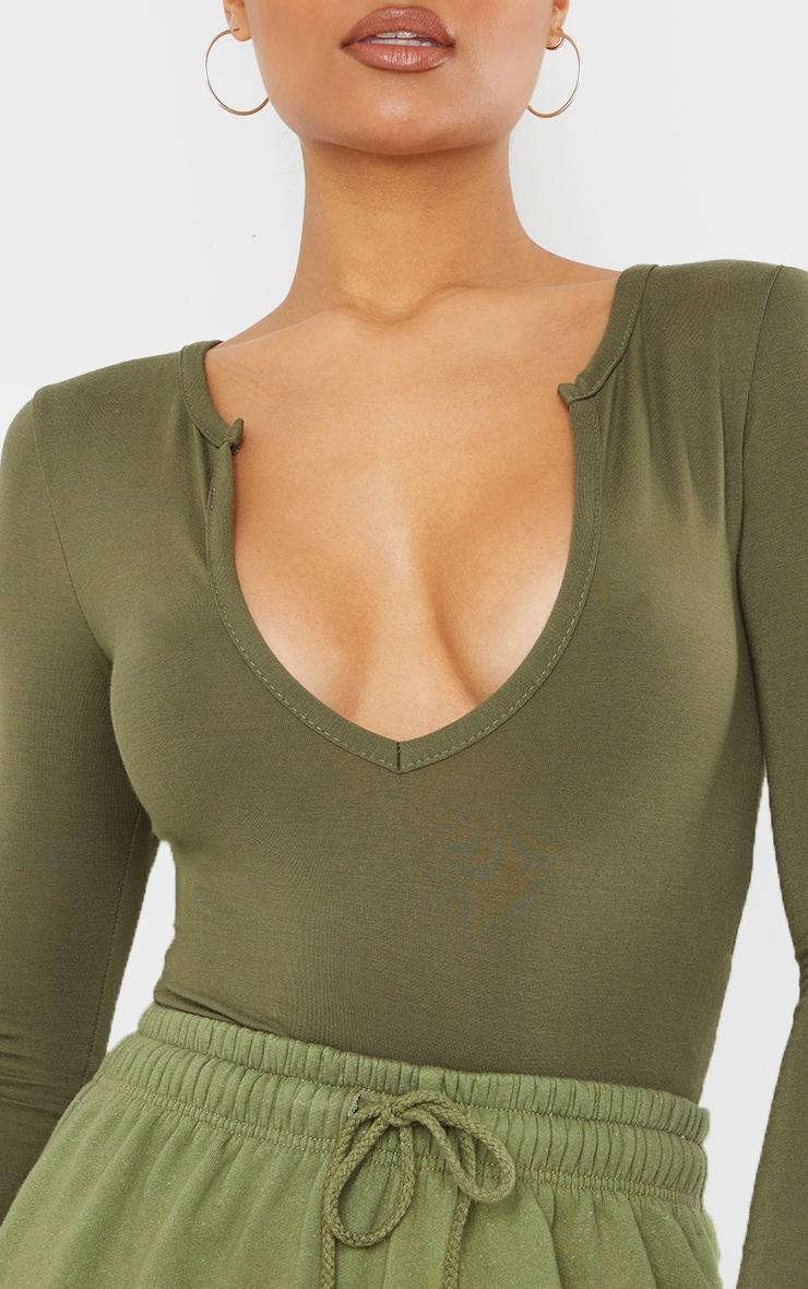 Basic Khaki Plunge Long Sleeve Bodysuit 4