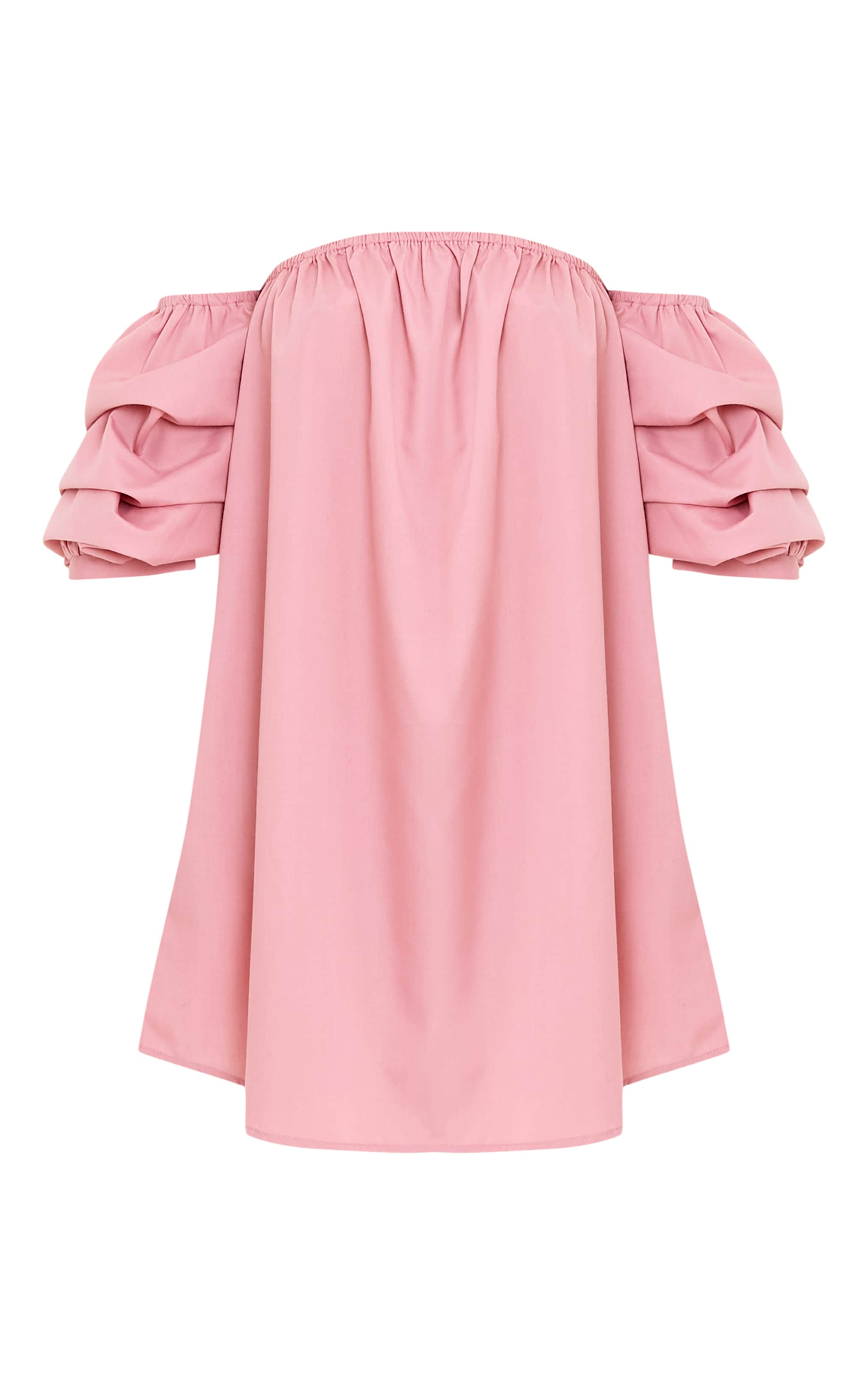 Lucinndar Cotton Ruched Bardot Sleeve Shift Dress Pink 3