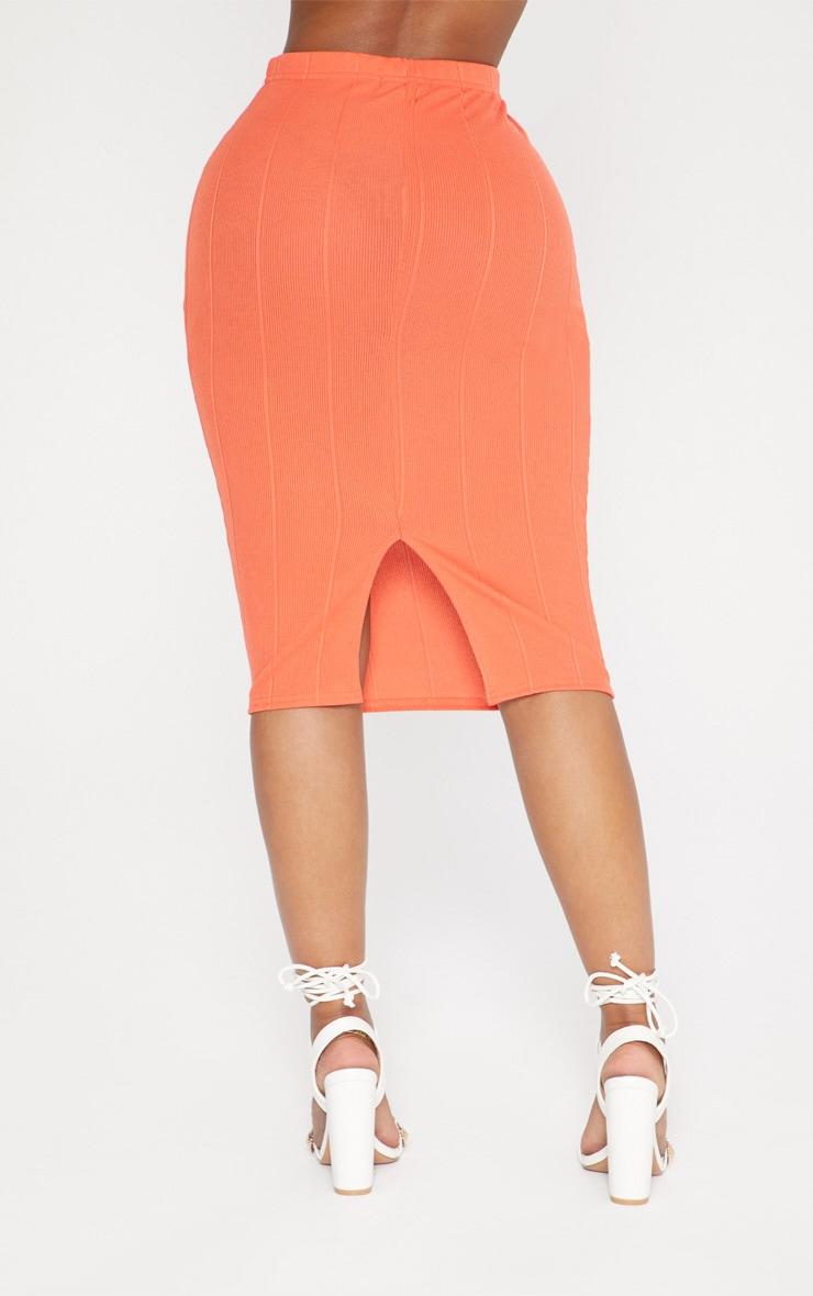 Shape Orange Ribbed Bandage Midi Skirt 3