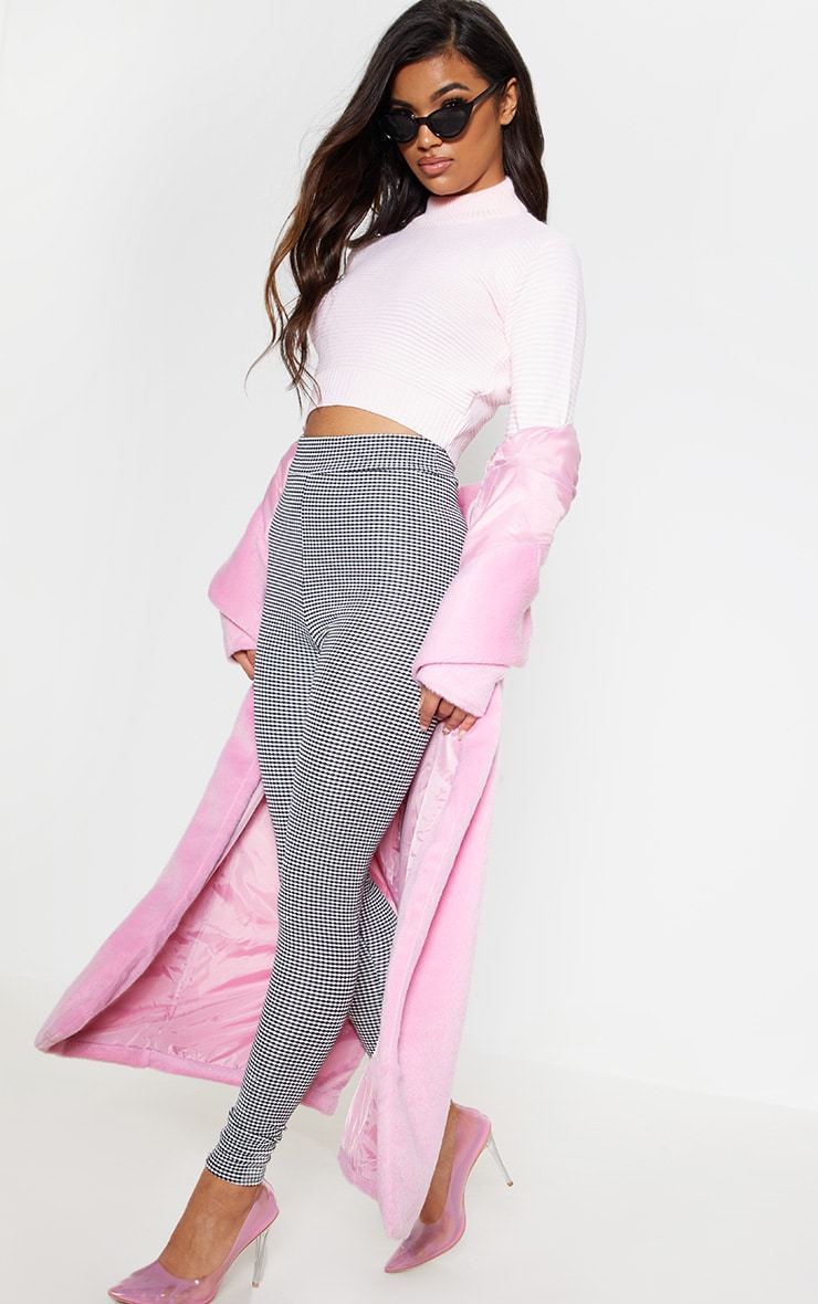 Pink Ribbed Cropped Knitted Jumper 2