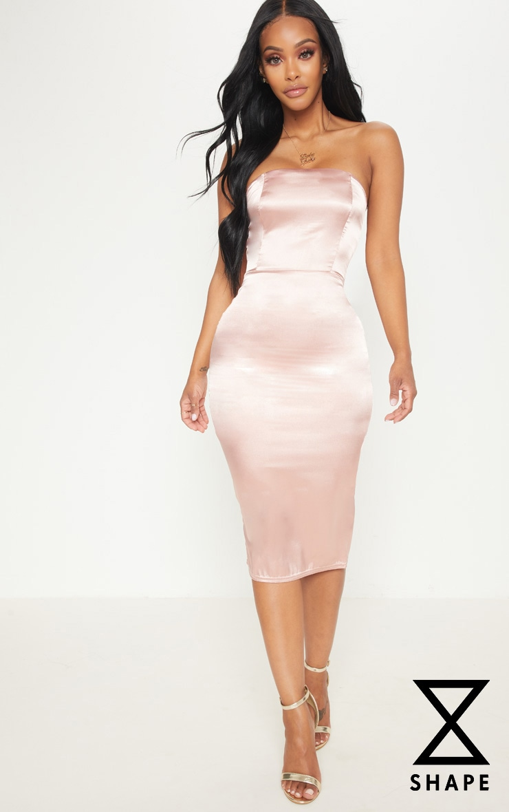 Shape Rose Satin Bandeau Midi Dress 1