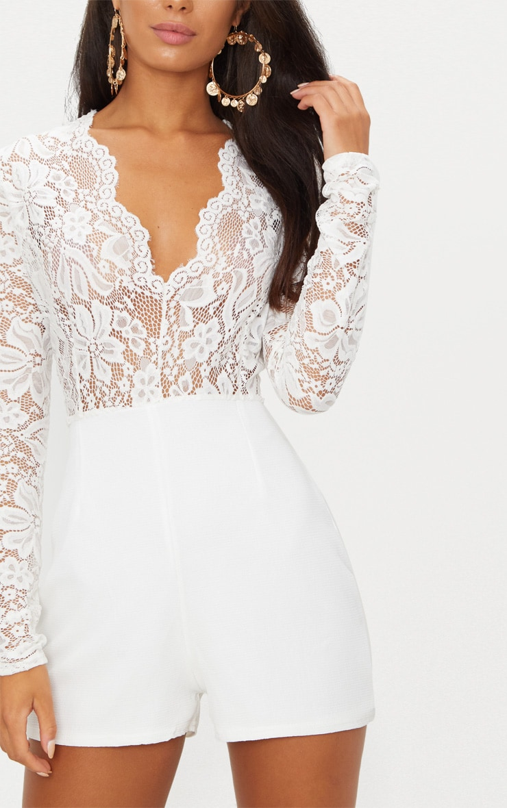 White Lace Long Sleeve Plunge Playsuit 5